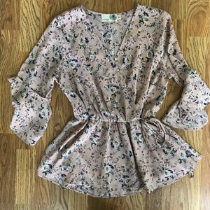 Everleigh Floral Blush Pink Wrap Blouse Small